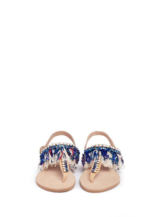 Front View - Click To Enlarge - MABU by Maria BK - 'Sapphire' embellished fringe leather thong sandals