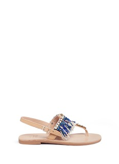 MABU by Maria BK 'Sapphire' embellished fringe leather thong sandals