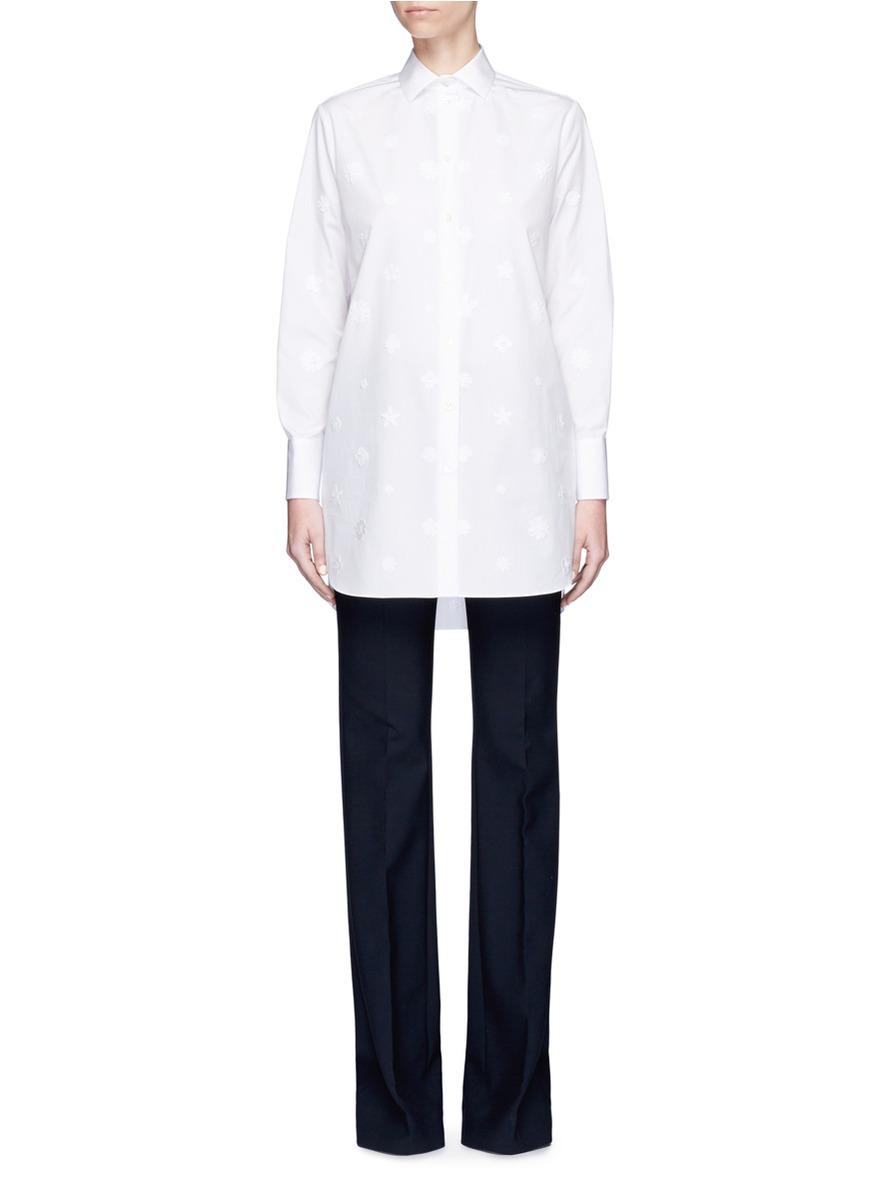 Daisy appliqué poplin shirt by Valentino