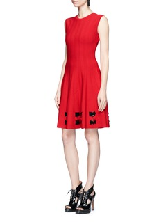 Alexander McQueen Cutout bow effect hem flared dress