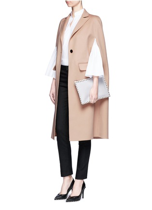Figure View - Click To Enlarge - Valentino - Compacted virgin wool-cashmere cape coat