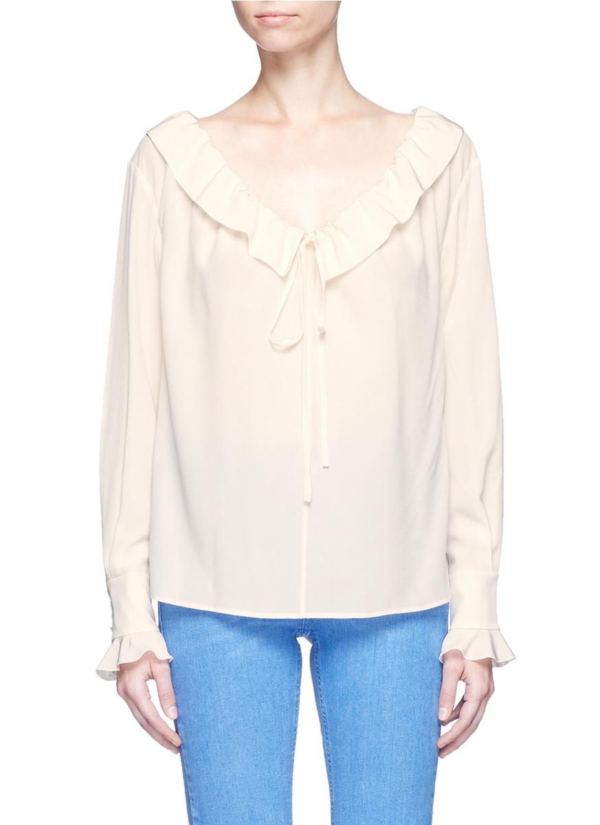 Drawstring neck silk crepe de Chine blouse by Stella McCartney