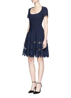 Alaïa 'Zig Zag Filet' textured stripe knit dress