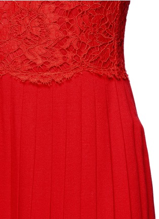 Detail View - Click To Enlarge - Valentino - Floral guipure lace bodice pleated dress