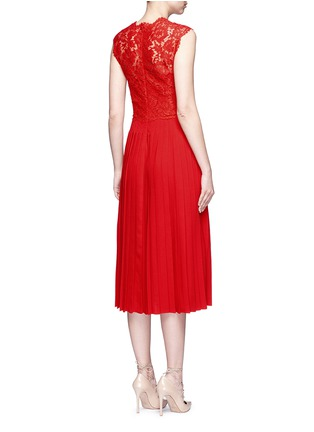 Back View - Click To Enlarge - Valentino - Floral guipure lace bodice pleated dress