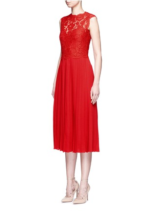Front View - Click To Enlarge - Valentino - Floral guipure lace bodice pleated dress
