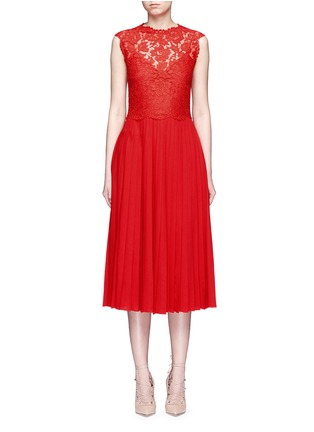 Main View - Click To Enlarge - Valentino - Floral guipure lace bodice pleated dress