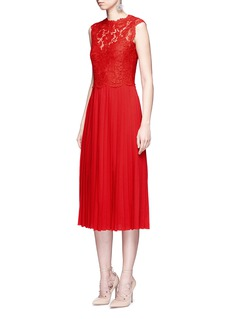 ValentinoFloral guipure lace bodice pleated dress