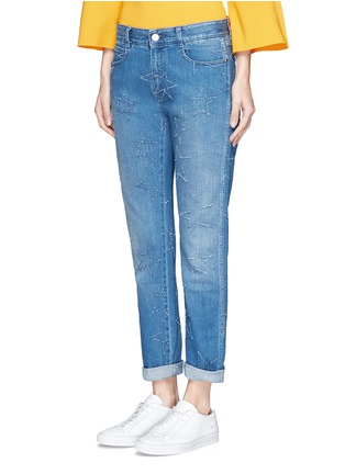 Front View - Click To Enlarge - Stella McCartney - Distressed star stitch boyfriend jeans