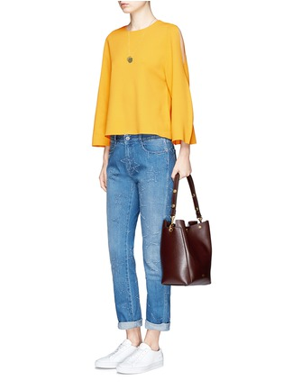 Figure View - Click To Enlarge - Stella McCartney - Distressed star stitch boyfriend jeans