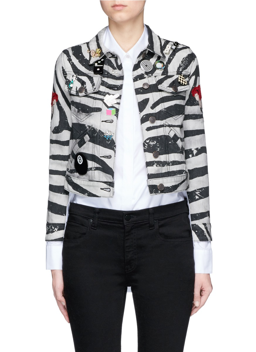 marc jacobs female embellished zebra print shrunken denim jacket