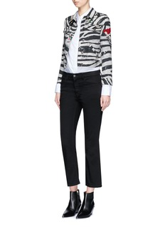 Marc Jacobs Embellished zebra print shrunken denim jacket