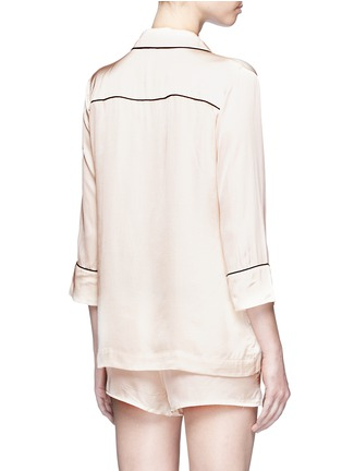 Back View - Click To Enlarge - Love Stories - 'Jude L' heart slogan embroidered satin pyjama shirt