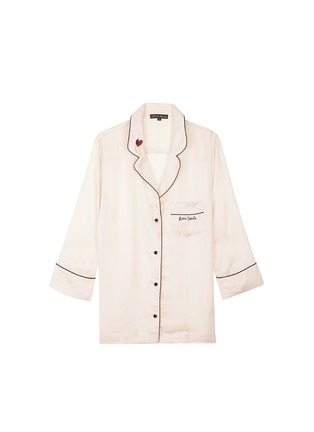 Main View - Click To Enlarge - Love Stories - 'Jude L' heart slogan embroidered satin pyjama shirt