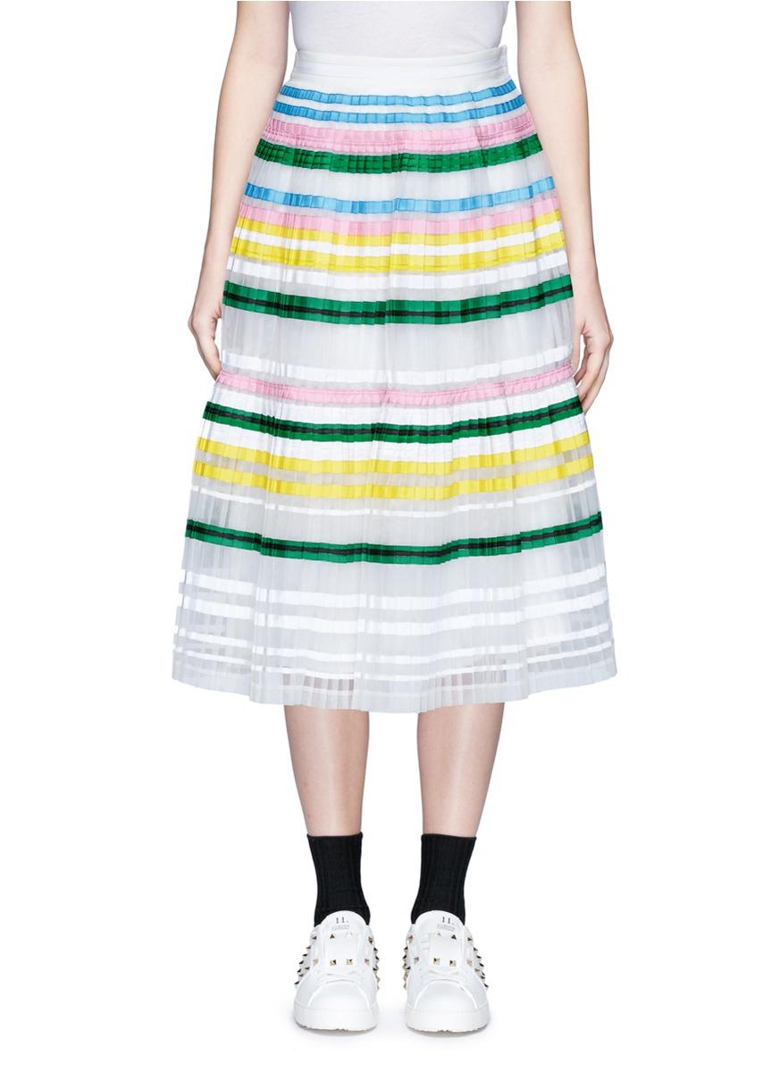 Ribbon stripe chiffon pleat skirt by Muveil