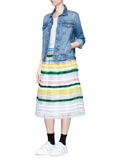 Muveil Ribbon stripe chiffon pleat skirt