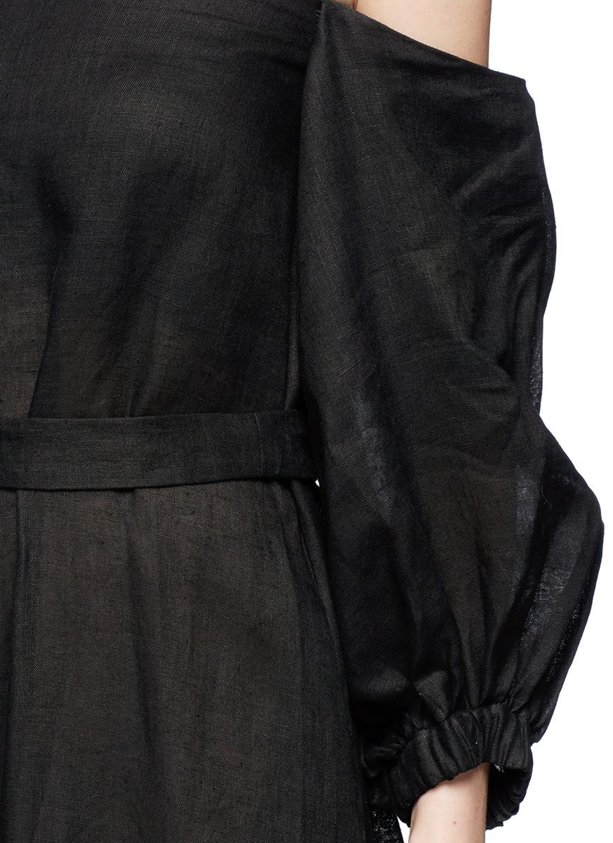 LISA MARIE FERNANDEZ Balloon sleeve off-shoulder linen dress