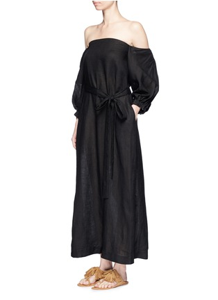 Front View - Click To Enlarge - Lisa Marie Fernandez - Balloon sleeve off-shoulder linen dress