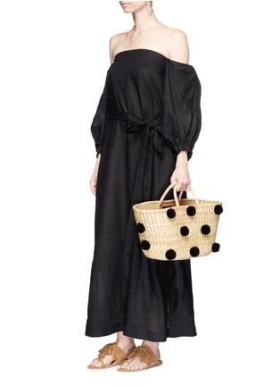 Figure View - Click To Enlarge - Lisa Marie Fernandez - Balloon sleeve off-shoulder linen dress