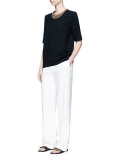 Lanvin Jewelled neck wool crepe top