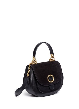 Detail View - Click To Enlarge - Michael Kors - 'Isadore' medium suede flap leather crossbody saddle bag