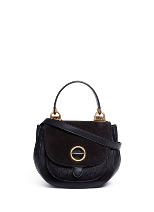 Main View - Click To Enlarge - Michael Kors - 'Isadore' medium suede flap leather crossbody saddle bag