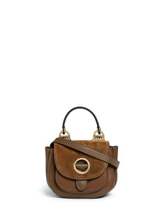 Michael Kors 'Isadore' small suede flap leather crossbody saddle bag