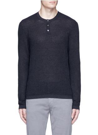 James Perse Cotton Cashmere Thermal Henley T Shirt Men
