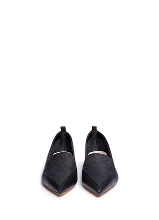 Front View - Click To Enlarge - Nicholas Kirkwood - 'Beya' metal heel leather skimmer loafers