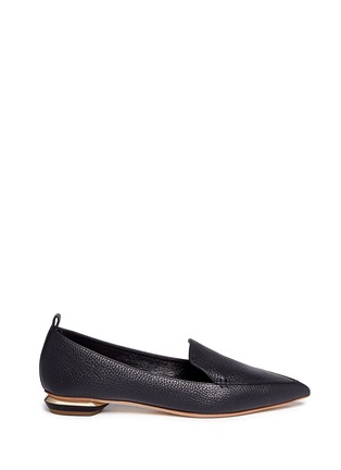 Main View - Click To Enlarge - Nicholas Kirkwood - 'Beya' metal heel leather skimmer loafers