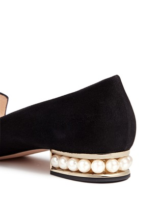 Detail View - Click To Enlarge - Nicholas Kirkwood - 'Casati' faux pearl heel suede loafers