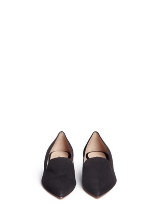 Front View - Click To Enlarge - Nicholas Kirkwood - 'Casati' faux pearl heel suede loafers