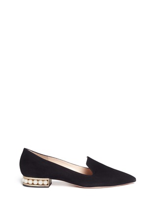 Main View - Click To Enlarge - Nicholas Kirkwood - 'Casati' faux pearl heel suede loafers