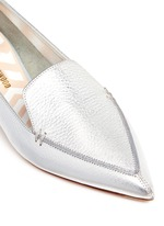 'Beya' metal heel metallic leather skimmer loafers