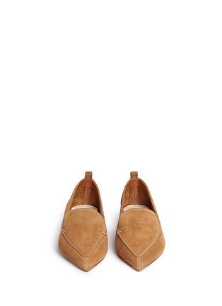 Front View - Click To Enlarge - Nicholas Kirkwood - 'Beya' metal heel suede skimmer loafers
