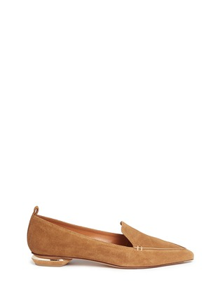 Main View - Click To Enlarge - Nicholas Kirkwood - 'Beya' metal heel suede skimmer loafers