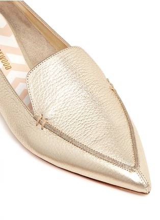 Detail View - Click To Enlarge - Nicholas Kirkwood - 'Beya' metal heel metallic leather skimmer loafers
