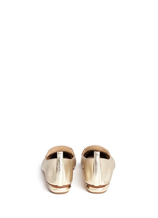 Back View - Click To Enlarge - Nicholas Kirkwood - 'Beya' metal heel metallic leather skimmer loafers