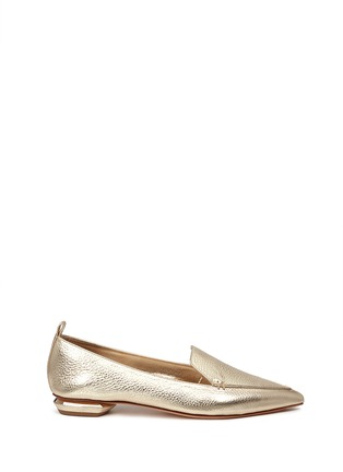 Main View - Click To Enlarge - Nicholas Kirkwood - 'Beya' metal heel metallic leather skimmer loafers