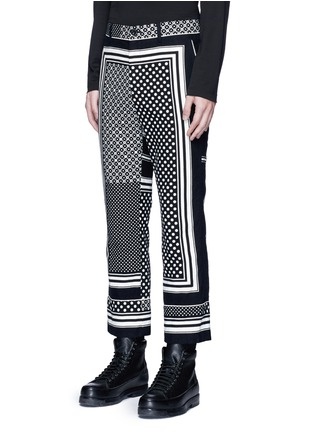 Front View - Click To Enlarge - Sacai - Dot scarf print cropped flannel pyjama pants