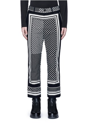 Main View - Click To Enlarge - Sacai - Dot scarf print cropped flannel pyjama pants