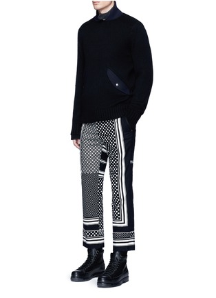 Figure View - Click To Enlarge - Sacai - Dot scarf print cropped flannel pyjama pants