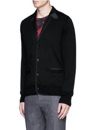 Sacai-Notched lapel wool knit jacket