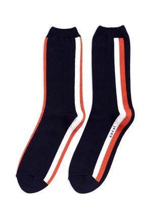 Sacai-Colourblock stripe cotton socks