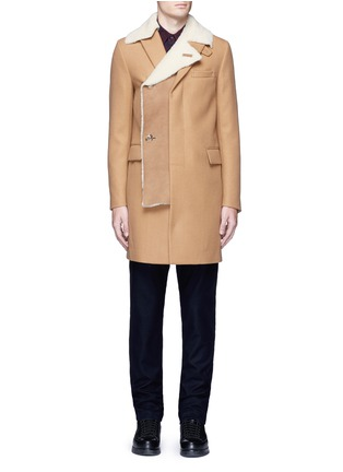 Main View - Click To Enlarge - Sacai - Shearling underlay wool military coat