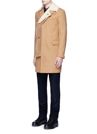 Figure View - Click To Enlarge - Sacai - Shearling underlay wool military coat