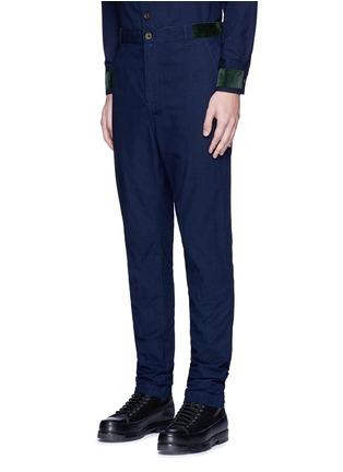 Sacai-Velvet trim cotton pants
