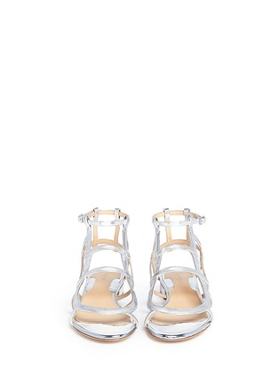 Front View - Click To Enlarge - CHELSEA PARIS - 'Bain' caged mirror leather sandals