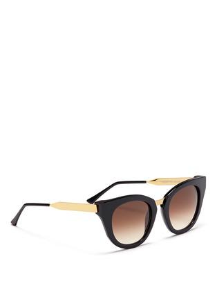 模特儿示范图 - 点击放大 - THIERRY LASRY - Snobby金属拼接猫眼款太阳眼镜