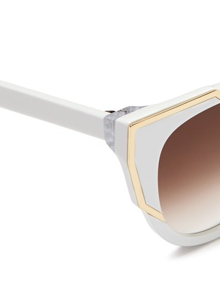 Detail View - Click To Enlarge - Thierry Lasry - 'Butterscotchy' angular metal rim acetate cat eye sunglasses
